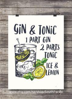 Gin and Tonic with lemon   printable Cocktail Illustration   Bar Decor   Kitchen decor   Vodka Classic cocktail   Printable