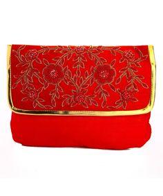 Red Silk Designer Clutch