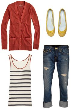 True Religion Jeans Cameron Gold Wyoming ($660.00), J. Crew Perfect-Fit Cardigan ($49.95), J.Crew Striped Jersey Tank ($39.99) , Grace Yellow Patent Leather Weave Flats ($175.00).