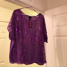 Pretty crop top ! NWT Pretty Purple sequence crop top ! Never wore ! torrid Tops Crop Tops