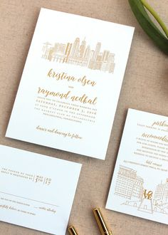 This elegant and classic wedding invitation suite is the perfect complement to any wedding, and can be customized with your choice of fonts, colors, envelope liners and more. With the gold (flat) and white details, and elegant typography layout and iconic Philadelphia Skyline, this invitation set is sure to wow your guests. Perfect for so many types of weddings - garden, elegant, traditional, formal, etc.  The invitation card and RSVP card are printed on luxuriously thick, white or ecru…