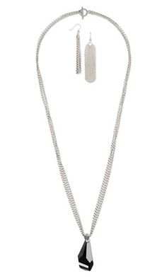 Triple-Strand Necklace and Earring Set with Swarovski Crystal Focal and Sterling Silver Chain