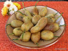 Pimientos de padrón rellenos de mousse de oca en tempura Tempura, Mousse, Catering, Sushi, Appetizers, Diet, Vegetables, Healthy, Recipes
