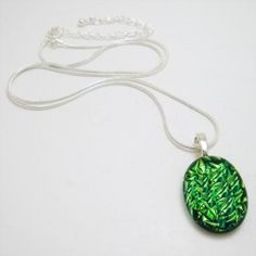 Necklace - Sterling Silver with Crinkle Green Glass $29.95