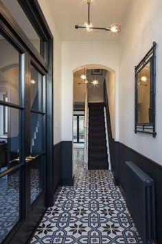 15 Stairway Lighting Ideas For Modern And Contemporary Interiors Most Popular Light for Stairways Tiled Hallway, Dark Hallway, Hallway Flooring, Hallway Ideas Entrance Narrow, Flooring Tiles, Black And White Hallway, Corridor Ideas, Narrow Hallway Decorating, Wainscoting Hallway
