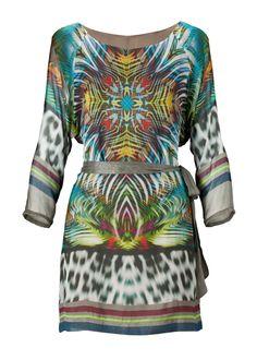 ANA ALCAZAR Jungle Print Silk Tunic Fenja