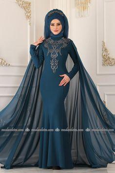 moda selvim Omuz ve Önü Taşlı Abiye ALM52738 İndigo The Dress, Hijab Fashion, Marie, Indigo, Photography, Collection, Islam, Dresses, Style