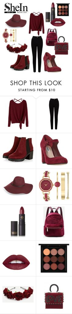 """""""Back In Burgundy"""" by passion-for-pink ❤ liked on Polyvore featuring EAST, Dune, Halogen, Anne Klein, Lipstick Queen, MAC Cosmetics and Les Petits Joueurs"""