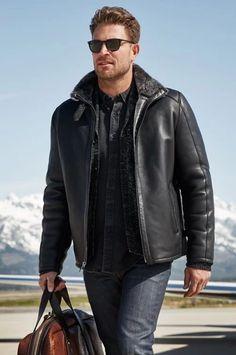Pilot Leather Jacket, Mens Shearling Jacket, Best Mens Fashion, Men's Fashion, Fashion Shops, Fashion Watches, Fashion Ideas, Sheepskin Coat, Sheepskin Jacket Mens