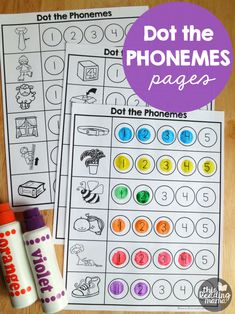Phonemes worksheets dot the phonemic awareness and syllable lesson for kind Kindergarten Reading, Kindergarten Worksheets, Teaching Reading, Guided Reading, Reading Lessons, Phonemic Awareness Kindergarten, Phonological Awareness Activities, Teaching Phonics, Phonics Activities