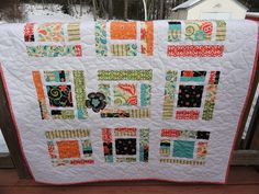 Modern lap quilt  A Bit of Whimsy by Lovedquilts on Etsy, $95.00