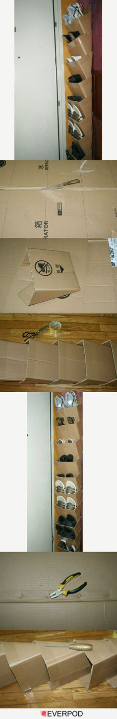 I really dislike those long pins, but this is such a great idea, I'm pinning it anyway. Easy Cardboard Box Organizer. Shown here, it's holding shoes, but you could store anything: magazines, files, craft supplies, etc.  I would also cover or paint it rather than leave the plain cardboard.