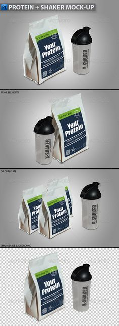 Protein in Plastic Bag + Shaker Mock-up - Food and Drink Packaging