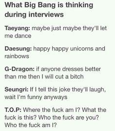 Interviewing Big Bang GD is so real I can't even xD Daesung, Vip Bigbang, Big Bang Memes, Big Bang Kpop, Bang Bang, G Dragon, Jiyong, Vixx, My King