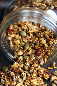 This crunchy, pumpkin-flavored granola is chock-full of healthy quinoa, sunflower and pumpkin seeds. It makes for a great seasonal breakfast.