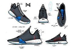 Nike PG 4 Official Release Date + Photos | SneakerNews.com Shoe Sketches, Drawing Sketches, Drawing Ideas, Shoe Drawing, Swim Fins, Rendering Techniques, Game Concept Art, Rubber Material, Release Date