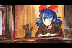 Cat Noir and Marinette - Kiki's Delivery Service parody - gif