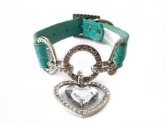 Amazon.com : One Tail Four Paws Clear Heart Pet Collar, Small, Tiffany Blue : Dog Collars With Rhinestones In Blue -by one of a kind dog necklaces