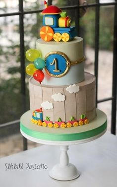 Bob the Train Cake by Sihirli Pastane (Cake Design Battesimo) Boys First Birthday Cake, Baby Birthday Cakes, Baby Cakes, Cake Designs For Kids, Thomas Cakes, Cakes For Boys, Cake Decorating, Decorating Ideas, Bob