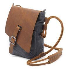 13b45fd9e Ekphero Ekphero Genuine Leather Canvas Shoulder Bags Casual Belt Crossbody Bags  Messenger Bags is designer, see other cute bags on NewChic Mobile.