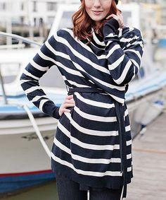 Look what I found on #zulily! Navy & Ecru Stripe Maternity & Nursing Four-in-One Cardigan #zulilyfinds