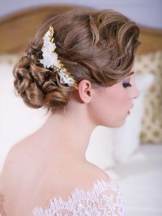 Golded Leaves Bridal Headpiece, Organic Garden wedding Hair Comb, gold flower hair accessories, bridal hair accessories, READY to SHIP