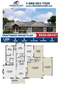 Introducing Plan 5032-00147, a design covered in Craftsman details features 1,966 sq. ft., 2 bedrooms, 2.5 bathrooms, a covered porch, a vaulted owners suite, and a kitchen island. Learn more about this design on our website. Craftsman Style Homes, Craftsman House Plans, Porch Tile, Best House Plans, Build Your Dream Home, Architectural Elements, Square Feet, Floor Plans, House Design
