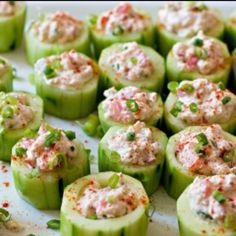 Cucumber cups stuffed with spicy crab filling