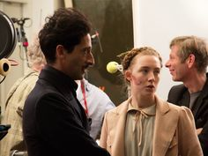 Adrien Brody and Saoirse Ronan on the set of Wes Anderson's THE GRAND BUDAPEST HOTEL