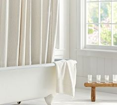 Vintage Ticking Stripe Shower Curtain #potterybarn