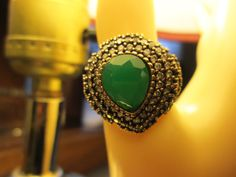 Vintage Art Deco 4.25ctw Green Emerald, Ruby & White Sapphire Rose Gold/925 Sterling Silver Ring Sz. 7, Wt. 7.8 Grams