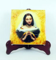 A new icon on tile dedicated to the Blessed Virgin Mary. https://www.etsy.com/listing/453438504