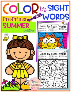 There are 20 pages of color by sight words worksheets in Summer Color by Code -Sight Words Pre-Primer. These pages are fun and effective way to reinforce all of the pre-primer Dolch Sight Words with safari, pirate, ocean and summer theme. Pre- K
