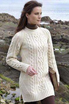 Аран ремесла Дамы женщин Шерсть Аран свитер пуловер Туника
