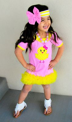 Pink Yellow Chick Ruffle Boutique Dress #boutique-outfits #dresses #new #perfect-sets