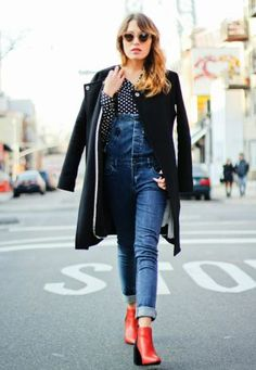 teenvogue, Forever 21 denim overalls, Pop Basic polka dot blouse (last seen here), Jbrand cocoon coat, Banana Republic scarf with fur collar (similar here), Kitti sunglasses c/o Quay Eyewear, Forever 21 geo rings and midi rings, Zara two tone boots (on sale here).