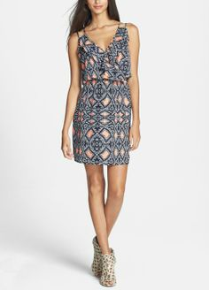 Navy and coral geo print ruffled crêpe de chine dress for summer.