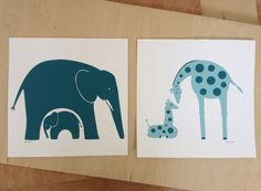 Elephant and Giraffe Nursery Art - set of 2 - customize your colors. $45.00 USD plus shipping, via Etsy.  On paper