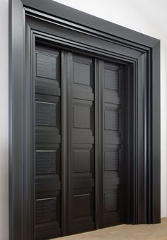 Black pocket doors & trim Now that is an entrance to our home theatre Panel Doors, Windows And Doors, Exterior Doors, Interior And Exterior, Door Detail, Door Trims, Black Doors, Entrance Doors, Front Doors