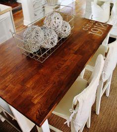 farmhouse table (paint on it)