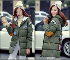 2016 Real 90% Parka New Long Winter Coat Women Casual Fashion Thick Cotton Padded Jacket Straight Embroidered Patch Female Tide