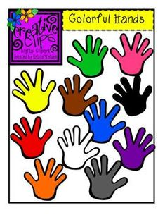 Free Colorful Handprint Clipart! Perfect for classroom labels, color posters, name tags, classroom helpers, etc. From Creative Clips by Krista Wallden- personal and commercial use allowed.