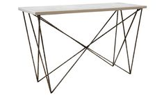 """Oly George Console (48 or 72""""w, antiqued Silver, dark or white shell top, gloss white or black top)"""