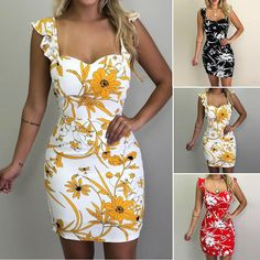 Hualong Sexy Sleeveless Floral Bodycon Dress - Online Store for Women Sexy Dresses Party Dresses For Women, Sexy Dresses, Casual Dresses, Fashion Dresses, Summer Dresses, Summer Clothes, Short Dresses, Vacation Dresses, Mini Dresses