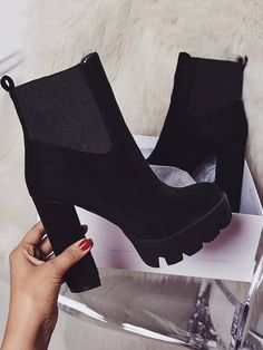 f2478c3f3938 Stylish Velvet Chunky High Heel Boots Hot Shoes