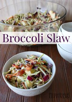 Broccoli Slaw Recipe - This delicious coleslaw recipe is made using broccoli stems cut into matchstick thin pieces, apple, cranberries, onion, and nuts. Great recipe for your next picnic or barbecue!