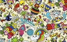 Space Age Japanese Pop Art Cotton Fabric White