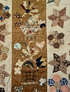 Century Folk Art Coverlet by Anonymous - Detail 2 Old Quilts, Antique Quilts, Vintage Quilts, Butterfly Quilt, Summer Quilts, Basket Quilt, Yarn Inspiration, Traditional Quilts, Quilt Stitching