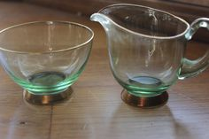Vintage green glass miniature creamer/sugar bowl by StonesThrowTreasures on Etsy