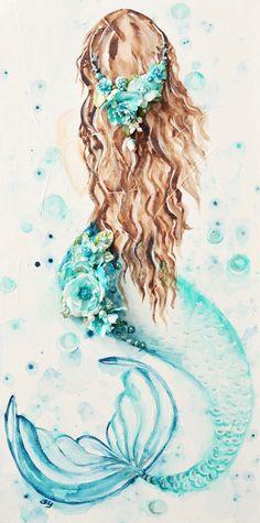 This mermaid would make a beautiful painting like project on pallet slats #mermaid #image #waterslide
